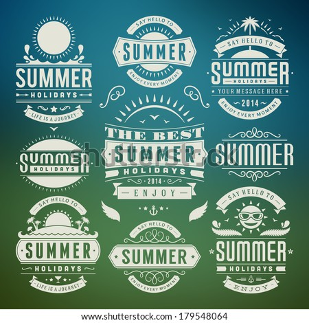 Summer design elements and typography design Retro and vintage templates Flourishes calligraphic ornaments labels badges cards Vector set