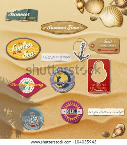 Summer Design Elements on sand background.Useful design elements: signs, tag, labels, papers in summer style. Vector Illustration.