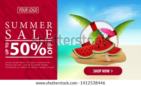 Summer discount, horizontal discount banner with a button for your website with watermelon slices, palm leaves and lifeline