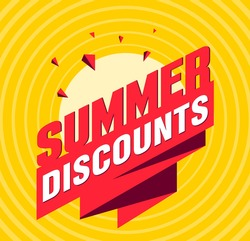 Summer discounts label tag with volume letters and ribbon with shards and sun, retro style graphic poster