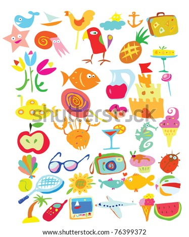 Summer doodles collection includes birds, sea creatures and some objects for vacations - stock vector