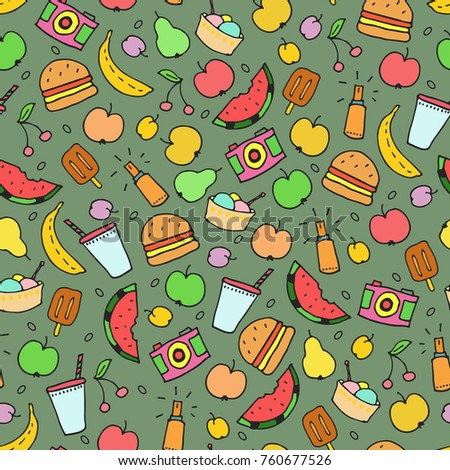 Summer doodles seamless pattern. Modern design for fabric and paper, web page background, surface textures.