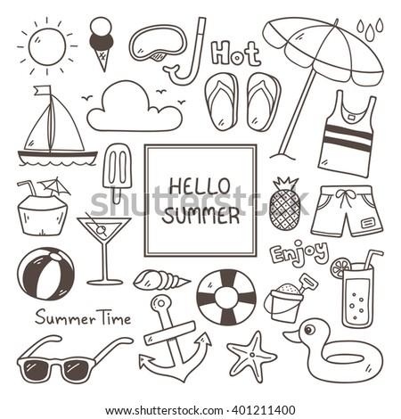 summer doodles summer icon set