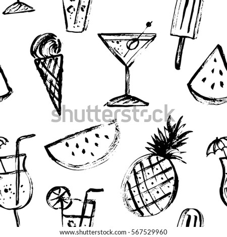 Summer drink and dessert seamless pattern in black and white. Rough black ink sketch of watermelon section, pineapple, cocktail , ice cream.