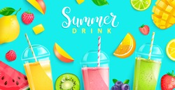 Summer drinks 2020.Hot season tropical background with fresh smoothie and fruits kiwi, mango, orange, watermelon, lemon. lime and berries. Bright template for your design. Vector Illustration.