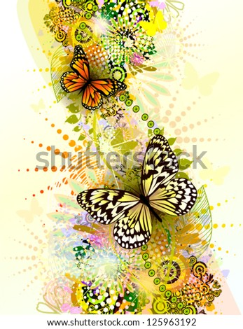 Summer elegant abstraction with butterflies. vector