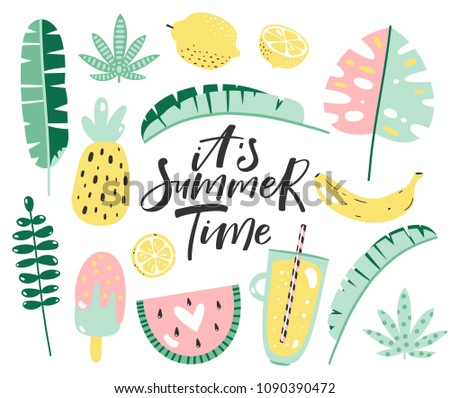 Summer elements set with hand written text. Vector illustration.