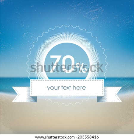 Summer end of the season sales promotion template with beach gradient mesh background. Eps10 vector illustration.
