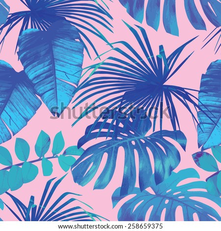 Summer exotic floral tropical palm, banana leaves in blue style. Pattern vector seamless on the pink background. Plant flower nature wallpaper