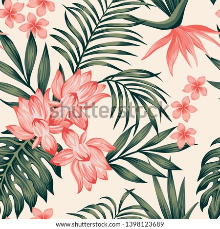 Summer exotic green tropical palm, monstera leaves and pink lily, frangipani, plumeria, bird of paradise flowers on the white background. Seamless realistic vector composition,  botanical pattern