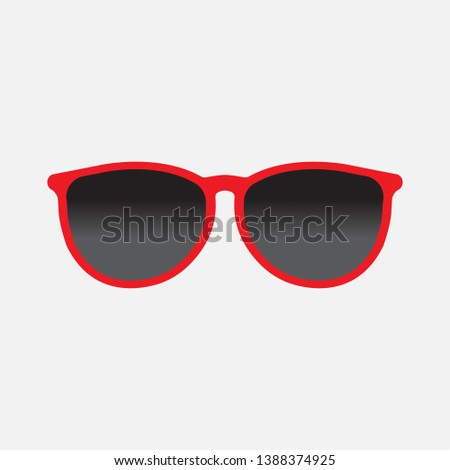 Summer eyewear sun protection sunglass. Fashion spectacles accessory. Plastic red frame modern eyeglasses isolated on grey background. Vector  illustration can be used for topics like vacation summer  #1388374925