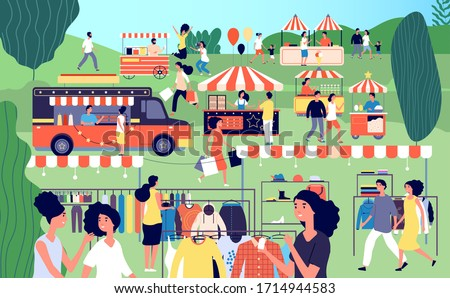 Summer fair. Festive food, street season flea market. Garage sale in park. Family festival event, marketplace and tents vector illustration