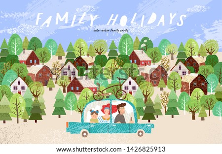 Summer family happy holidays! Cute vector illustration of mom, dad and baby traveling by car in nature and in the countryside at the weekend
