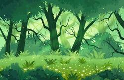 Summer fantasy forest landscape vector illustration.