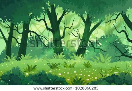 summer fantasy forest landscape