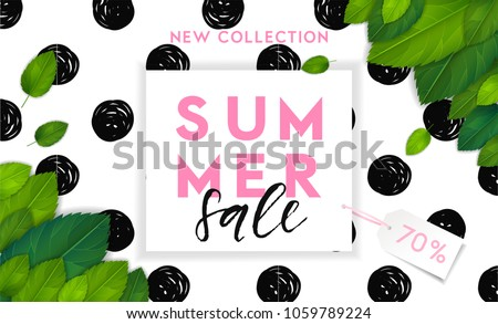 Summer fashion stylish sale flyer template with lettering. Bright fresh green leaves concept. Poster, card, label, banner design. Bright and stylish geometric background. Vector illustration EPS10