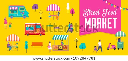 Summer fest, food street fair, family festival poster and banner colorful design