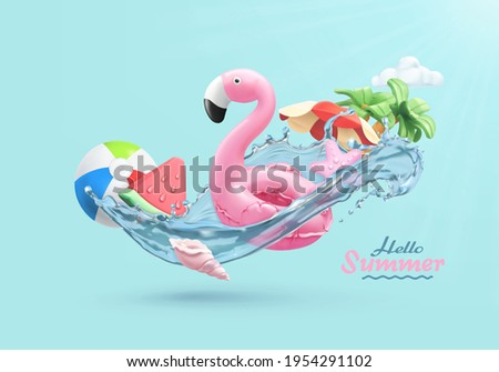 Summer festive background. 3d vector realistic illustration. Flamingo inflatable toy, watermelon, palm trees, shell, water splash