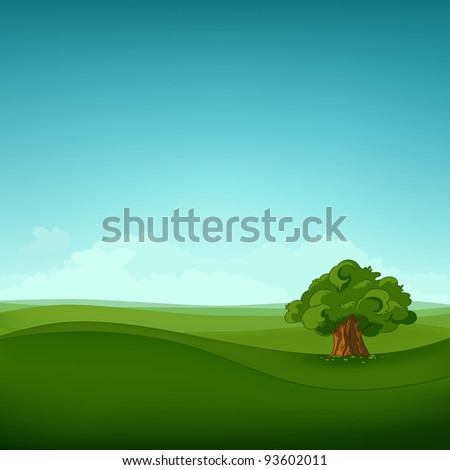 Summer Field Landscape. Eniroment Background. Vector Illustration.