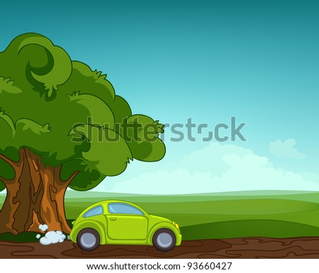 Summer Field Landscape with Green Car. Eniroment Background. Vector Illustration.