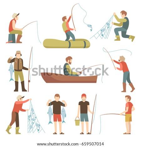 Summer fishing sport vacation vector flat icons. Fishermen with fish set. Fisherman fishing in boat illustration