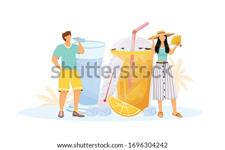 Summer flat concept vector illustration. Woman and man in hot weather 2D cartoon characters for web design. Male drink water. Female with fan. Lemonade to cool off. Heat wave refreshment creative idea