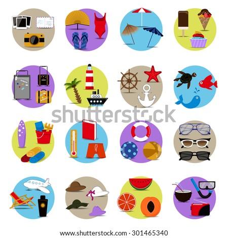 summer flat icons set  vector