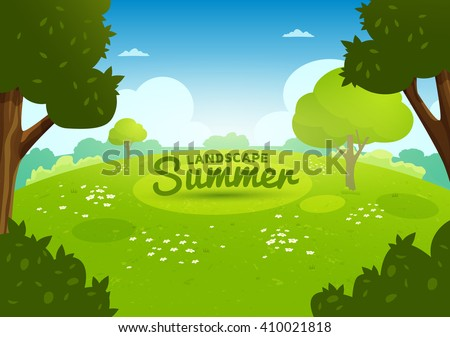 summer flat landscape cartoon