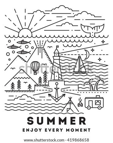 summer flat line art