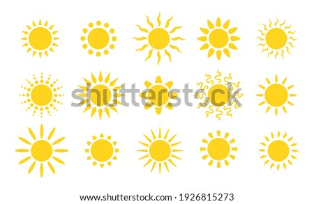 Summer flat sun logo. Yellow suns circles, bright natural lighting objects. Heating sunshine, isolated spring warm season utter vector symbols