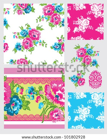 Summer Floral design. Use for backgrounds, paper craft or textiles projects