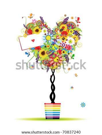 Summer floral tree, heart shape in pot for your design - stock vector