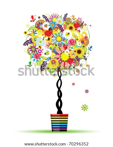 Summer floral tree in pot for your design