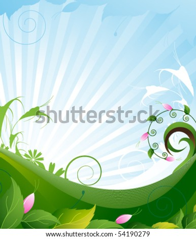 Summer flowering meadow. Bright sunny landscape.