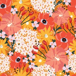 Summer flowers abstract seamless vector pattern. Floral repeating background Hydrangea, Aster, Poppy red orange yellow white. Modern contemporary collage Surface pattern design for fashion fabric