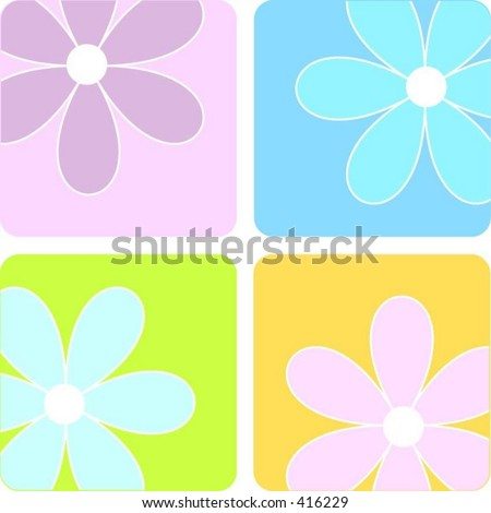 Summer flowers - vector - stock vector
