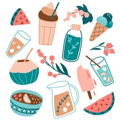 Summer food and drinks: berries, fruits, cocktails. Cold beverages, coconut, watermelon. Tropical flat collection. Cute hand drawn set. Beach party icons.  Seasonal colorful vector illustration