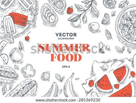 summer food frame linear