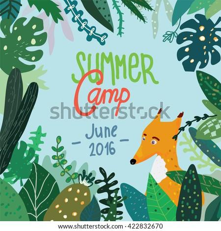 summer forest camp banner or
