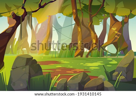 Summer forest glade with green grass. Scene of jungle, garden or natural park in daylight. Vector cartoon illustration of woods landscape with trees, lianas, stones and sunlight spots on grass