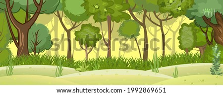 Summer forest landscape. Light foggy thickets. Dense foliage. View of green trees. Hills meadow at the edge. Cartoon flat style. Nature illustration. Vector