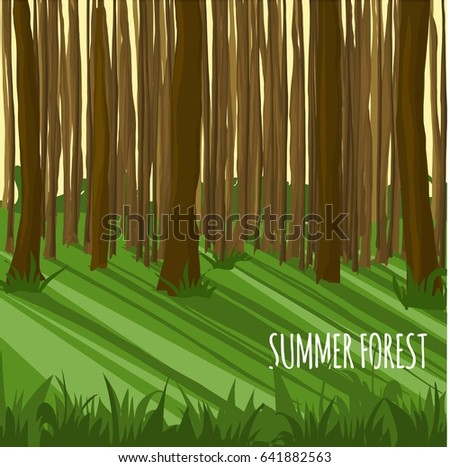 Summer forest. Sunny day. Vector illustration