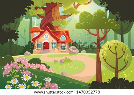 Summer forest. Woodland with cartoon house and sunlight.