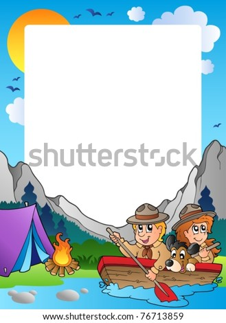 Summer frame with scout theme 4 - vector illustration. - stock vector