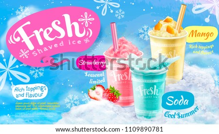 Summer frozen ice shaved poster with strawberry, mango and soda flavors in 3d illustration, blue snowflakes background