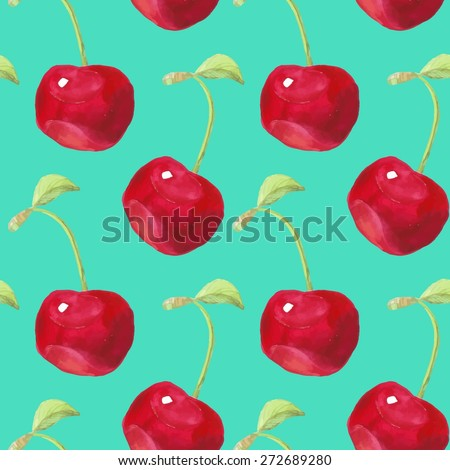 Summer fruit pattern. Watercolor cherry pattern. Watercolor pattern for design, fabric labels for jam, cream. - stock vector