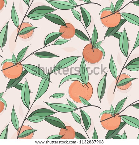 Summer fruit peach banner. Vector sketch illustration. Exotic leaves nectarine pattern. Pastel color print. Doodle sweet texture. Botanical jungle floral background. Beach nature collection