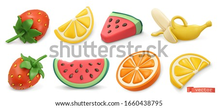 Summer fruits icon set with shadows. Strawberries, watermelon, lemon, orange, banana 3d vector objects. Plasticine art illustration