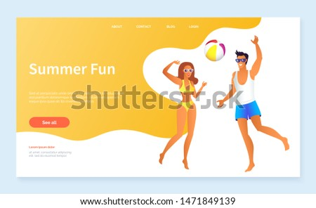 Summer fun activities on beach vector, man and woman playing active games. Couple with ball jumping and running characters on spring vacations. Website or webpage template, landing page flat style
