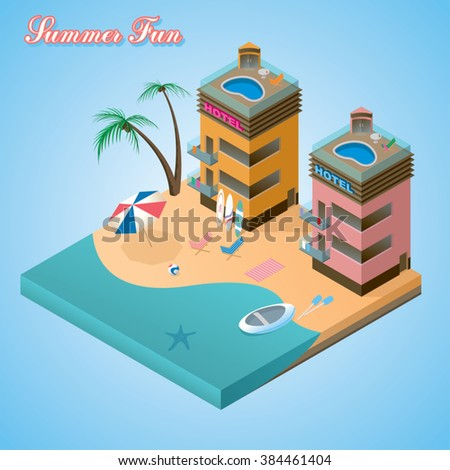 summer fun beach resort on the